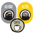Coffee funny hand drawn poster with sloths vector image