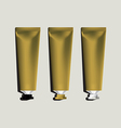 Tubes for packaging gold set vector image