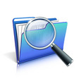 Magnifying glass over the blue folder vector image