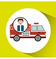 man cartoon firetruck icon graphic vector image