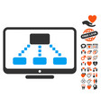 hierarchy monitor icon with lovely bonus vector image