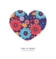 colorful bouquet flowers heart silhouette pattern vector image