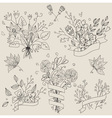 Set of hand drawn cute floral bouquets Retro vector image