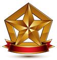 3d golden heraldic blazon with glossy pentagonal vector image