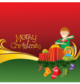 2012 christmas card with boy gifts and socks vector image