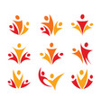 people union logo set abstract family icon vector image