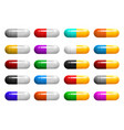 set of medical capsules pills with multicolored vector image