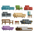set of sofas and armchairs in cartoon flat style vector image