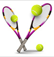 Tennis symbols rackets and balls isolated on white vector image
