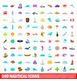 100 nautical icons set cartoon style vector image