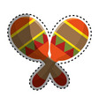 sticker colorful pair mexican maraca instrument vector image