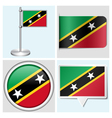 Saint Kitts and Nevis flag - sticker button vector image vector image