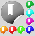 bookmark icon sign Set of eight multi-colored vector image