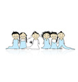 Bride with bridesmaids for your design vector image vector image