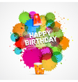 Happy Birthday Theme with Colorful Blots Splashes vector image