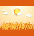 paper art style barley field with sun and cloud vector image