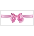 Pink bow with ribbon located horizontally vector image
