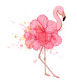 pink floral flamingo vector image