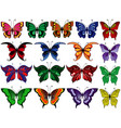 set of seventeen colorful butterflies vector image