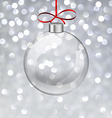 Silver christmas background with glass ball vector image