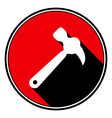 red information icon - white claw hammer vector image