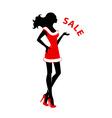 Xmas silhouette girl vector image vector image