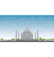 Taj Mahal with Tree and cow vector image