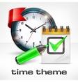 Clock notepad and marker vector image