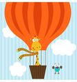 giraffe bird on hot air balloon vector image