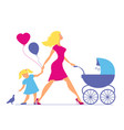 mom with daughter and baby in baby carriage vector image