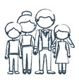 blurred blue contour faceless family group in vector image