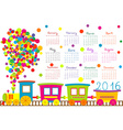 2016 calendar with cartoon train for kids vector image vector image