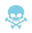 Cute Skull with bones honey kind Blue Head vector image