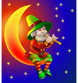 magician plays on flute sitting on moon in the nig vector image vector image