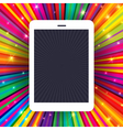 tablet device on colorful rays concept background vector image vector image