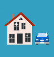 house and blue car poster vector image