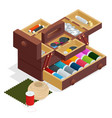 isometric sewing kit in wooden box isolated on vector image