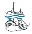 a fishing boat with a catch silhouette vector image vector image