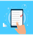 survey research make a choice on the tablet vector image