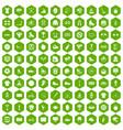 100 sport team icons hexagon green vector image