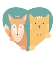 Animal set Portrait of a fox and cat in love vector image