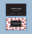 black and red design business card with lips vector image