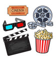cinema objects popcorn bucket film roll ticket vector image
