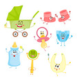 kid items baby care supply characters with human vector image