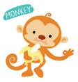 happy monkey love to eat banana vector image