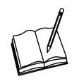 open book pencil write school image vector image