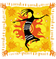 dancing figure on an orange background vector image