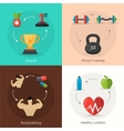 Bodybuilding Flat Set vector image