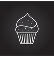 cupcake with cherry icon vector image