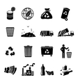 Garbage Icons Black vector image